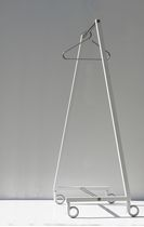 Contemporary clothes rack / steel / on casters