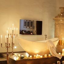 Wall-mounted bathroom mirror / warming / contemporary / rectangular