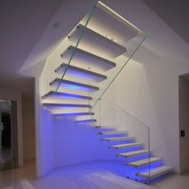 Straight staircase / half-turn / wooden steps / glass frame