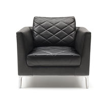 Contemporary armchair / leather / black