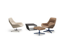 Contemporary armchair / leather / swivel / with footrest