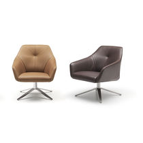 Contemporary armchair / leather / swivel / star base