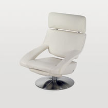 Leather armchair / with headrest / swivel / central base