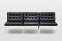 Modular sofa / contemporary / steel / leather