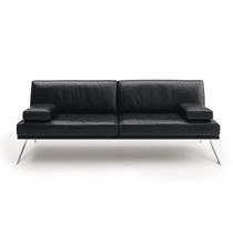 Contemporary sofa / leather / stainless steel / 2-seater