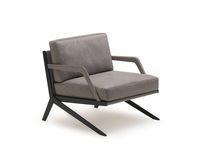 Contemporary armchair / leather / stainless steel / yellow