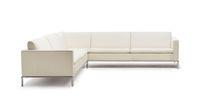 Corner sofa / contemporary / leather / steel