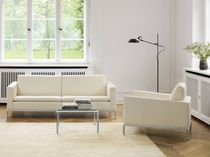Corner sofa / contemporary / steel / leather
