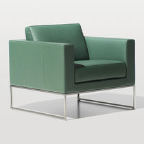 Contemporary armchair / leather / green