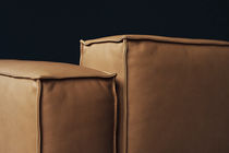 Contemporary armchair / fabric / leather / black