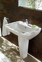 Free-standing washbasin / rectangular / contemporary / with adjustable mirror
