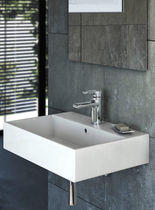 Wall-mounted washbasin / rectangular / contemporary / with adjustable mirror
