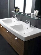 Double washbasin / countertop / contemporary / with adjustable mirror