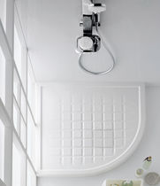 Angle shower base / ceramic / with extra-flat drain