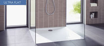 Rectangular shower base / ceramic / with extra-flat drain