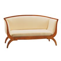 Biedermeier style sofa / leather / wooden / fabric