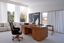 Cherrywood desk / leather / contemporary