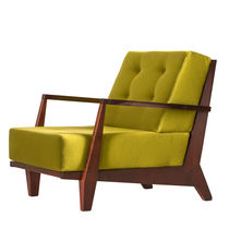 Contemporary armchair / fabric / leather / cherrywood