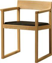 Contemporary chair / walnut / beech / fabric