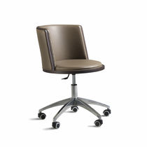 Contemporary chair / leather / on casters / star base