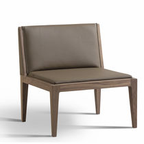 Contemporary fireside chair / fabric / walnut