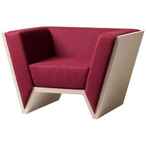 Contemporary armchair / fabric / wenge