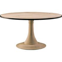 Contemporary table / maple / ebony / round