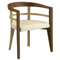 Contemporary armchair / fabric / maple / walnut