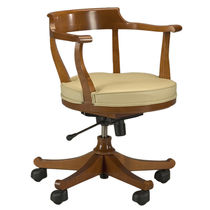 Traditional office armchair / fabric / leather / cherrywood