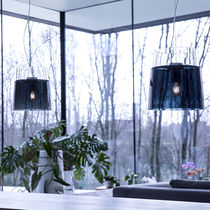 Pendant lamp / contemporary / blown glass / white
