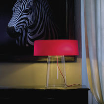 Table lamp / contemporary / blown glass / crystal