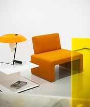 Contemporary fireside chair / fabric / orange / by Studio Lievore Altherr Molina