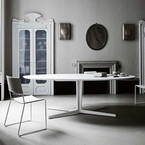 Contemporary table / metal / oval / white