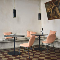 Contemporary bistro table / wooden / round