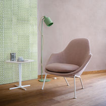 Contemporary armchair / fabric / wooden / steel