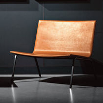 Contemporary fireside chair / leather / gray / brown