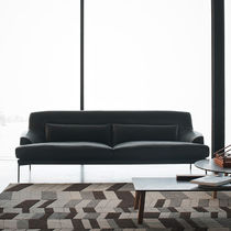 Contemporary sofa / leather / 2-seater / black