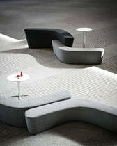 Modular upholstered bench / contemporary / fabric / black