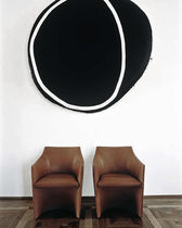 Contemporary visitor armchair / leather / brown / by Christophe Pillet