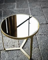 Contemporary side table / metal / round / square