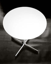 Contemporary bistro table / metal / round / white