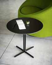 Contemporary side table / metal / round / black