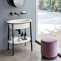 Free-standing washbasin cabinet / wooden / ceramic / design