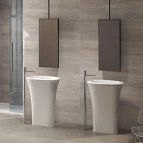 Free-standing washbasin / round / ceramic / contemporary