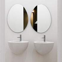 Wall-mounted washbasin / oval / ceramic / original design