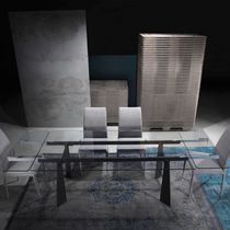 Contemporary table / glass / rectangular / extending