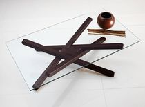 Contemporary coffee table / glass / ash / rectangular