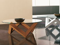Contemporary coffee table / glass / oak / round