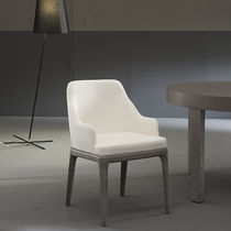 Contemporary chair / upholstered / with armrests / oak