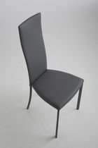Contemporary chair / upholstered / high-back / leather